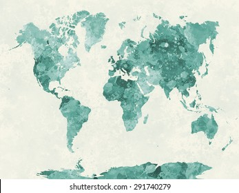 World map in watercolor painting abstract splatters green