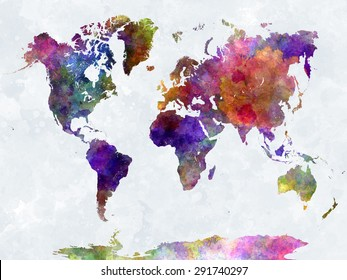 World map in watercolor painting abstract splatters purple-blue