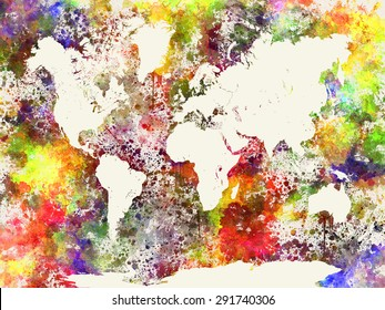 World map in watercolor painting abstract splatters background