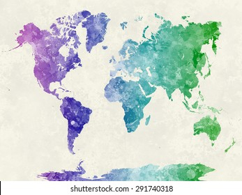 World map in watercolor painting abstract splatters cool