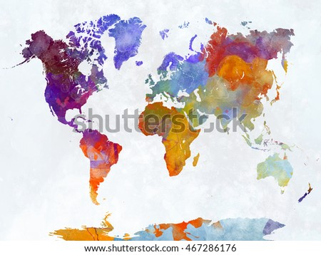 World map watercolor painting abstract splatters stock illustration world map in watercolor painting abstract splatters gumiabroncs Choice Image