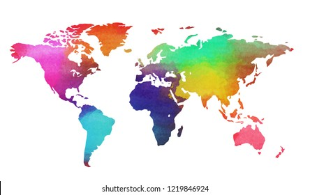 World map in watercolor style isolated on white background. Digital art painting.