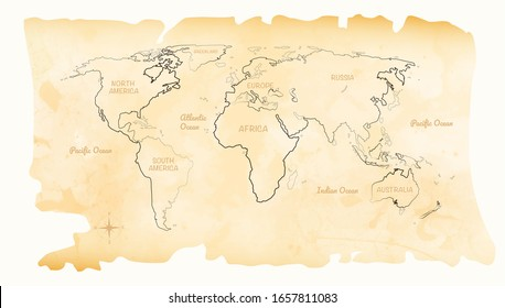 World map in watercolor style with small compass. This map is on a white background.