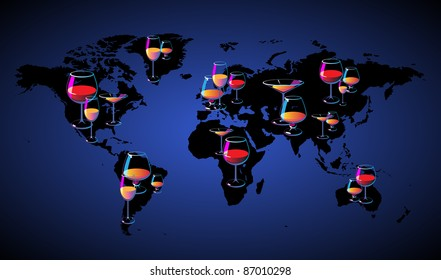 World map with wines. Raster version. Vector version is also available.