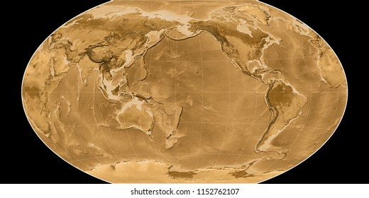 World map in the Winkel Tripel projection centered on 170 West longitude. Sepia tinted elevation map - raw composite of raster with graticule