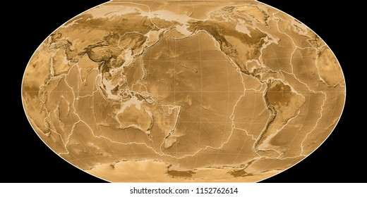 World map in the Winkel Tripel projection centered on 170 West longitude. Sepia tinted elevation map - composite of raster with graticule and tectonic plates borders