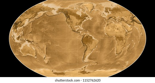 World map in the Winkel Tripel projection centered on 90 West longitude. Sepia tinted elevation map - raw composite of raster with graticule