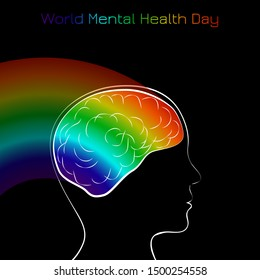 World Mental Health Day. Concept of medical holiday. Silhouette of the head of man and brain. Rainbow from the brain. Black background
