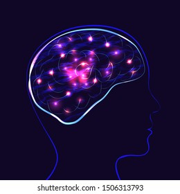 World Mental Health Day. Concept of medical holiday. Silhouette of the head of man and brain. Lights showing the work of the brain