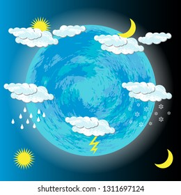World Meteorological Day. Image of the Earth, clouds, sun, moon, rain, snow, lightning For banners flyers sites