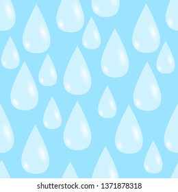 World Milk Day. White drops of milk, blue background. Seamless Pattern. Concept of holiday