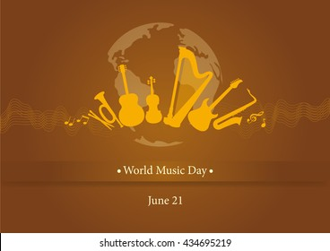 World Music Day. Brown background with music. Important day