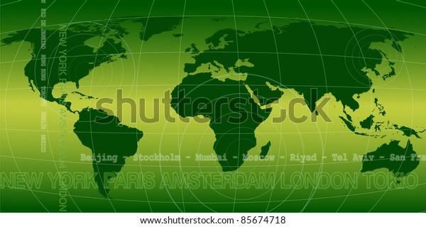 World news background in green