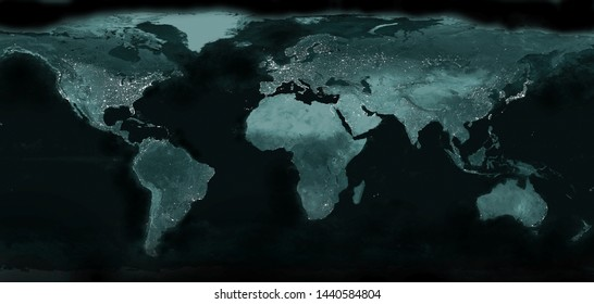 World night electric lights map.  View from outer space. City lights of Earth planet.  Panoramic image. Elements of this image are furnished by NASA