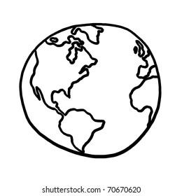 World outline illustration; Outline drawing of planet earth