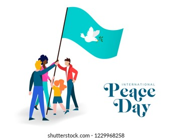 World Peace Day greeting card illustration, diverse people group together for special holiday celebration. International social help concept.
