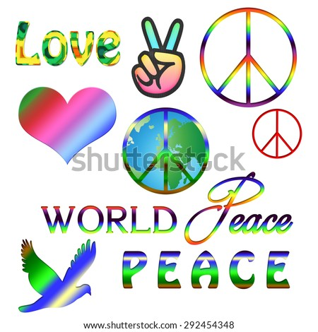 World Peace Symbol Peace Sign Over Stock Illustration Royalty Free