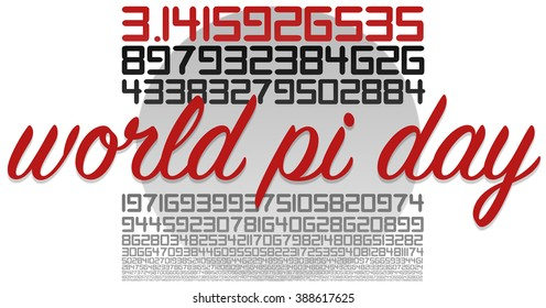 World PI day celebration sign on white with circle in grey. Many numbers in white and red.