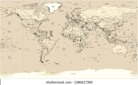 World political flat map with retro style effect