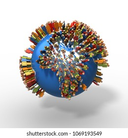 World Population, Globe with people, Africa, 3D rendering