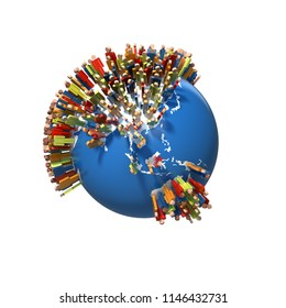 World Population, Globe with people, China, Australia, 3D rendering