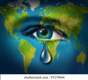 World poverty and natural disaster relief and refugee crisis from poor countries suffering from drought and war resulting in famine as an earth map with a sad tear crying from an eye of a child,