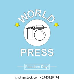 World Press Freedom Day creative illustration with flat design concept. Design with a photo camera. May 3, 2021