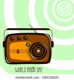 World Radio Day. Retro radio and radio waves