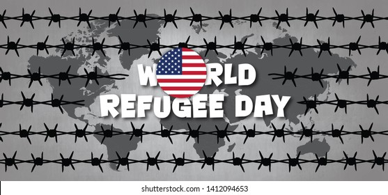 World refugee day Flag of America VS USA States Remembrance of slave trade and its abolition Freedom Refugees Vector icon icons sign signs symbol fun funny Sea boat camp barbwire Barbed wire Migrants