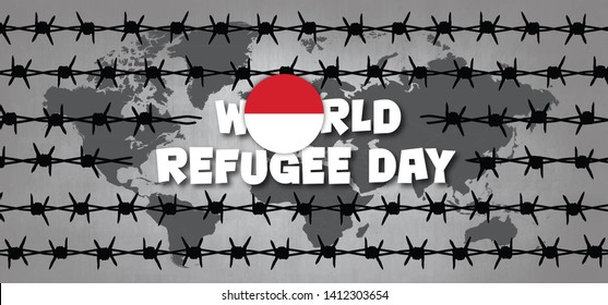 World refugee day Flag of Indonesia Remembrance Slave trade  abolition Freedom Refugees Vector icon icons sign signs symbol camp barbwire Barbed wire Batavia VOC WIC The Netherlands Dutch Holland fun