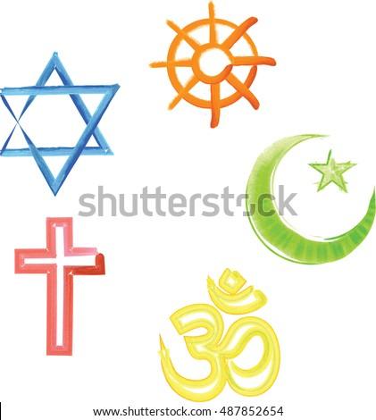 World Religions Symbols Christianity Islam Buddhism Stock