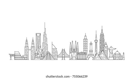 World skyline. Illustations in outline style