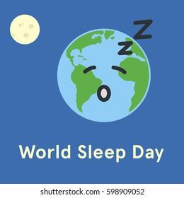 World Sleep Day. Earth sleeping. Flat  illustration