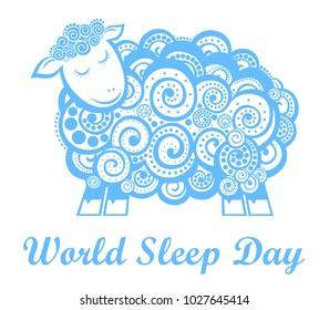 World Sleep Day. International holiday. Sheep with his eyes closed. illustration.