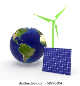 World and solar cell and windmill