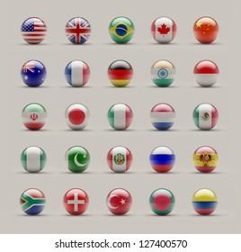 World Sphere Icon Flags on Studio shot