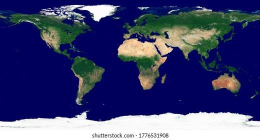 Texture du monde. Image satellite de la Terre. Texture haute résolution de la planète sans ombre et atmosphère de relief. Texture du monde réaliste et détaillé (carte physique). Illustration 3D.