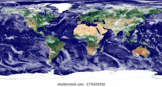Texture du monde. Image satellite de la Terre. Texture haute résolution de la planète avec l'ombre du relief (topographie terrestre) et l'atmosphère (nuages). Texture du monde réaliste (carte physique). Illustration 3D.