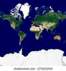 Texture du monde dans la projection Web Mercator. Image satellite de la Terre. Texture haute résolution de la planète avec l'ombre du relief (topographie terrestre) et sans atmosphère. Illustration 3D.
