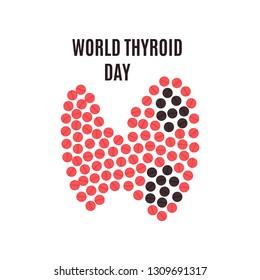 World Thyroid Day poster with thyroid gland made of pills on white background. Hyperthyroidism goiter symbol. Body anatomy sign. Human endocrine system. Medical internal organ illustration.