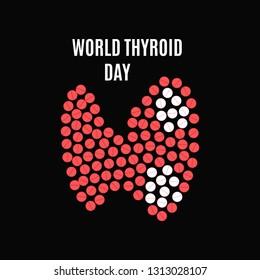 World Thyroid Day poster with thyroid gland made of pills on black background. Hyperthyroidism goiter symbol. Body anatomy sign. Human endocrine system. Medical internal organ illustration.