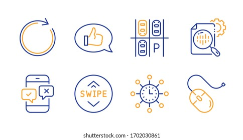 World time, Feedback and Swipe up line icons set. Parking place, Synchronize and Phone survey signs. Seo stats, Computer mouse symbols. Measurement device, Speech bubble. Technology set.