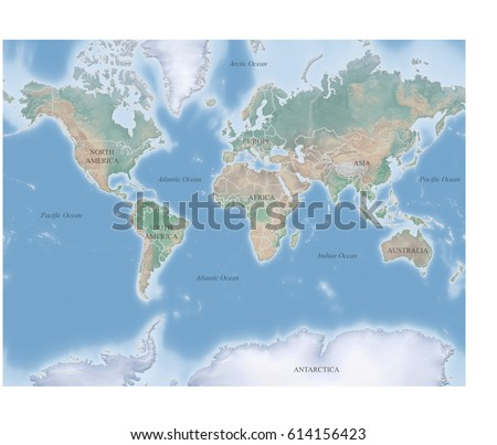 World Topographic Map Continents Oceans Labeled Stock Illustration
