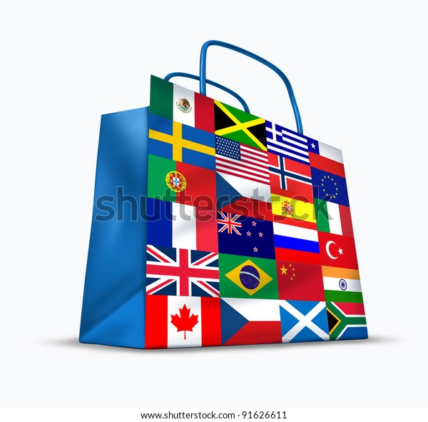 World trade and global commerce as an international symbol of business trading in exports and imports for the globe as a financial shopping bag with flags from many countries from around the earth.
