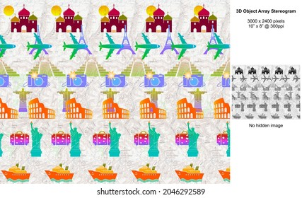 World Travel 3D Object Array Stereogram Illusion