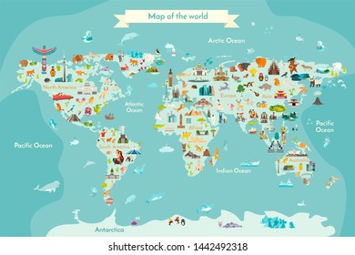 World travel map with landmarks, animals and sight of country Illustration
