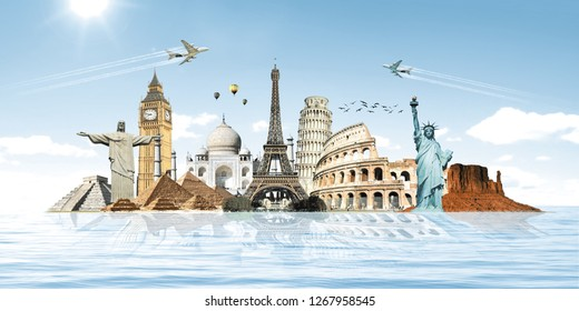 World travel monuments concept water,Famous monuments of the world grouped together on the planet Earth.