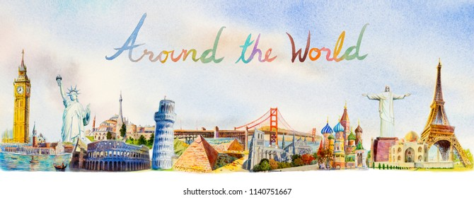 World travel and sights. Famous landmarks of the world grouped together. Watercolor hand drawn painting illustration on skyline background. Around the world or poster tourist attraction, advertising