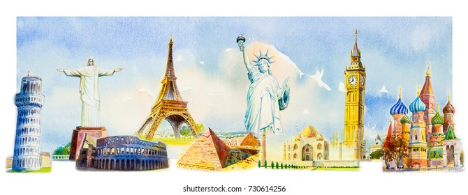 World travel and sights. Famous landmarks of the world grouped together. Watercolor hand drawn painting illustration on sky, cloud  background.