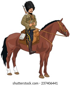 World War 1 era Russian Cossack on the horse on White Background
